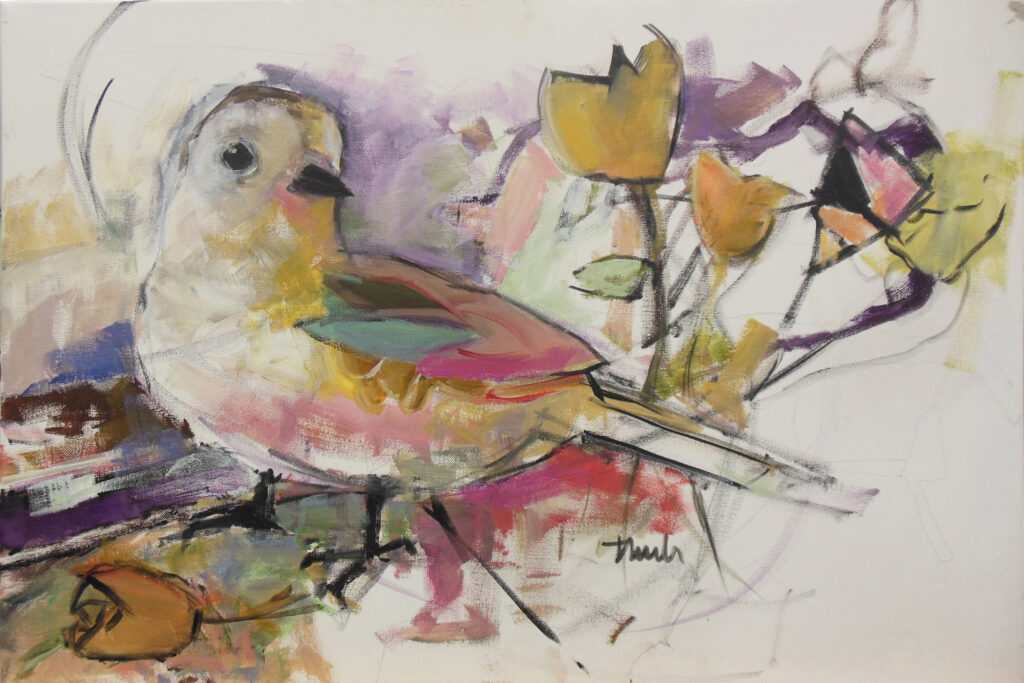 Bird in Reverence by Lauren Thuli; A print will be up for grabs at the auction!