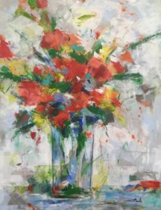 Flowers in clear vase painting